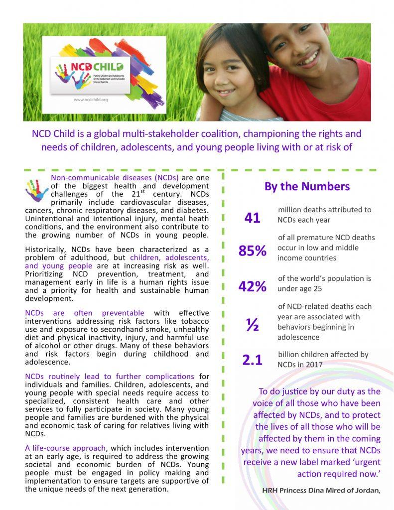 Snapshot of the 2019 NCD Child fact sheet