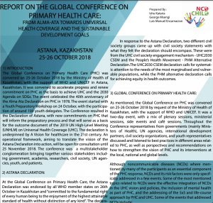 Report on the 2018 Global Conference on Primary Health Care