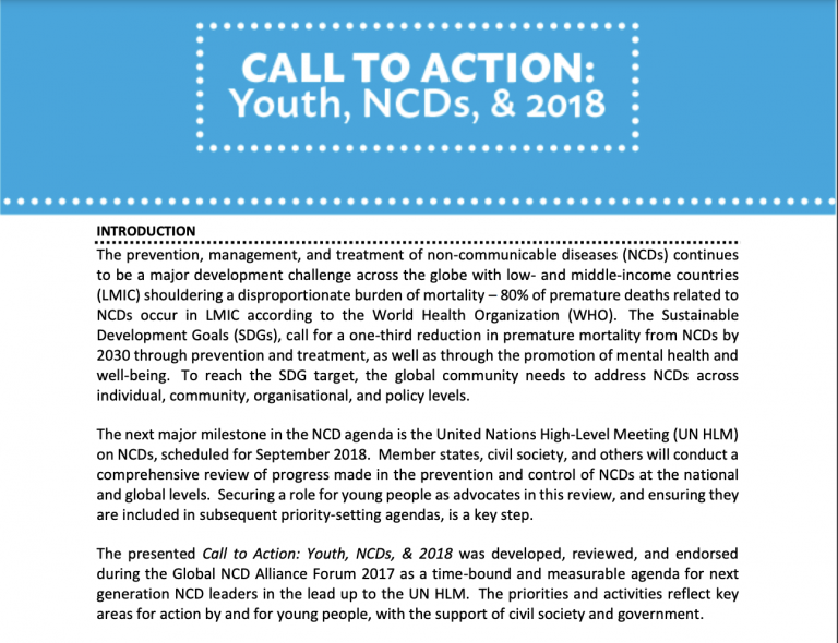 Notes on NCDAF 2017 Call to Action for Youth