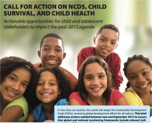 a group of multi racial children smiling at the camera while text talks about call for action on ncds