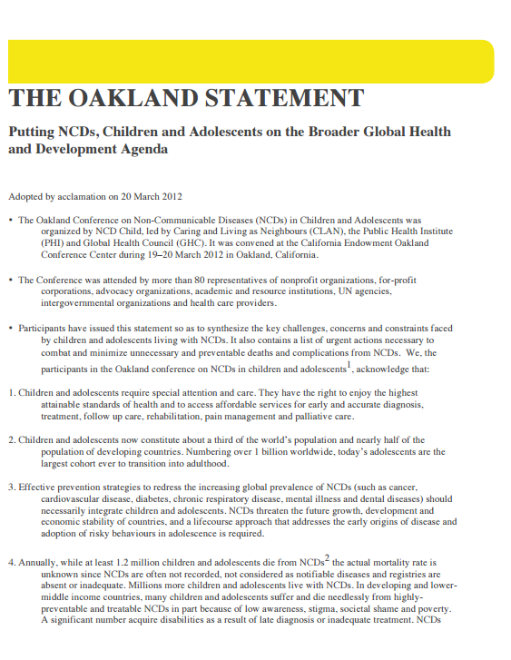 the oakland statement on NCDs